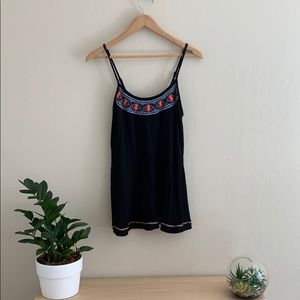 Embroidered tank with adjustable straps